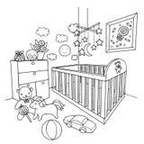 Вручите вычерченную комнату младенца для элемента дизайна и страницы книжка-раскраски также вектор иллюстрации притяжки corel бесплатная иллюстрация