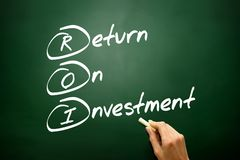 Вручите вычерченную концепцию рентабельности инвестиций (ROI), стратегию бизнеса стоковые изображения rf