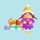 Вручите вычерченную красивую милую девушку с чашкой кофе в руках Зимний отдых и с Рождеством Христовым иллюстрация вектора детей иллюстрация штока