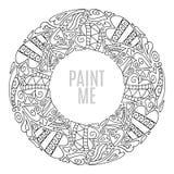Вручите вычерченную круглую рамку, декоративные элементы дизайна, сердца орнамент круга, стиль doodle Страница книги цвета Стоковая Фотография RF