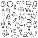 Вручите вычерченную милую иллюстрацию вектора элементов собрания doodles животного, дерева, слова, объектов для дизайна печатей и Стоковые Изображения RF