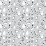 Вручите вычерченную племенную безшовную картину с домами, деревьями и горами шаржа Творческая этническая скандинавская предпосылк бесплатная иллюстрация