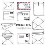 Вручите вычерченную почту, столб, письмо, конверт, комплект шаржа бумаги плоский также вектор иллюстрации притяжки corel Элементы иллюстрация штока