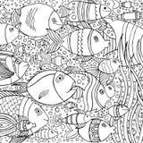 Вручите вычерченную предпосылку с много рыб в воде Дизайн морской жизни для ослабляет и раздумье Стоковые Изображения