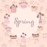 Вручите вычерченную симпатичную предпосылку весны сделанную в векторе Стоковая Фотография