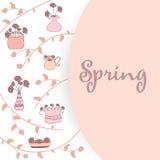 Вручите вычерченную симпатичную предпосылку весны с цветками в баках сделанных внутри Стоковое фото RF