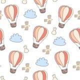 Вручите вычерченную симпатичную предпосылку картины воздушного шара - сделанного внутри Стоковые Изображения