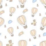 Вручите вычерченную симпатичную предпосылку картины воздушного шара - сделанного в векторе Стоковая Фотография