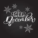 Вручите вычерченную фразу здравствуйте! декабрь литерности оформления на доске с снежинками Каллиграфия чернил щетки потехи иллюстрация штока