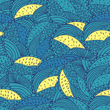 Вручите вычерченную флористическую текстуру круга голубую и желтую Стоковые Изображения
