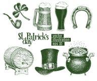 Вручите вычерченную шляпу лепрекона вектора, клевер, кружку пива, бочонок, золотой эскиз бака монетки установленный на день ` s S Стоковое Изображение RF