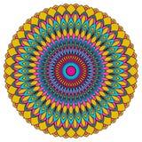 Вручите вычерченную этническую орнаментальную круглую абстрактную яркую пеструю предпосылку Стоковые Изображения