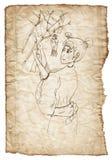 Вручите вычерченную японскую женщину на старой, скомканной бумаге Стоковое Изображение