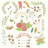 Вручите вычерченные винтажные цветки и флористические элементы на праздники Стоковая Фотография