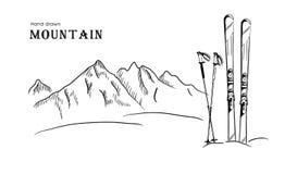 Вручите вычерченные гору и лыжу графическая черная белая иллюстрация вектора ландшафта Стоковая Фотография