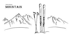 Вручите вычерченные гору и лыжу графическая черная белая иллюстрация вектора ландшафта Стоковое фото RF