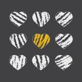 Вручите вычерченные значки сердца для валентинок и свадеб Стоковое фото RF