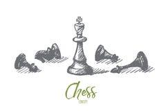 Вручите вычерченные диаграммы шахмат с королем в центре Стоковое Фото