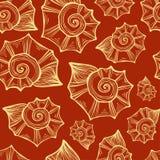 Вручите вычерченные иллюстрации вектора - безшовную картину seashell Померанцовая предпосылка Стоковые Фотографии RF