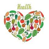 Вручите вычерченные овощи внутри формы здоровья сердца и литерности Бесплатная Иллюстрация