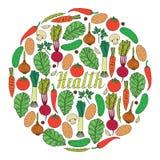 Вручите вычерченные овощи на белом здоровье предпосылки и литерности внутри формы круга Бесплатная Иллюстрация
