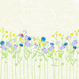 Вручите вычерченные приглашение, wildflowers, бабочку и ladybug предпосылки также вектор иллюстрации притяжки corel иллюстрация штока