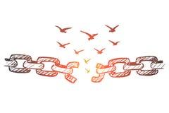 Вручите вычерченные сломанные цепь и стадо птиц над им иллюстрация штока