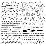 Вручите вычерченные стрелки, круги и абстрактный doodle также вектор иллюстрации притяжки corel бесплатная иллюстрация