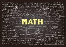 Вручите вычерченные формулы математики на доске для предпосылки, знамени, обложки книги и etc для индустрии образования Стоковые Изображения