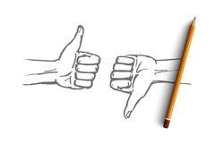 Вручите вычерченные человеческие руки с как и невзлюбите Стоковые Фото