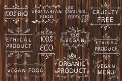 Вручите вычерченные элементы ВЕКТОРА на светлой деревянной предпосылке черные линии Био, органические, этичные продукты Стоковое Изображение