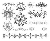 Вручите вычерченные элементы украшения, рамки, рассекатель страницы и иллюстрацию вектора границы иллюстрация штока