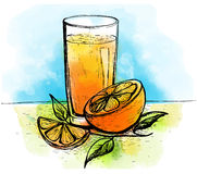 Вручите вычерченный апельсиновый сок с кусками апельсина и листьев Бесплатная Иллюстрация