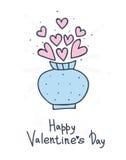 Вручите вычерченный букет цветков сердца в вазе Счастливый дизайн дня валентинки иллюстрация вектора