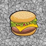Вручите вычерченный бургер от фаст-фуда на предпосылке doodle бесплатная иллюстрация