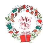 Вручите вычерченный венок зимнего отдыха с lett почерка рождества Стоковая Фотография RF