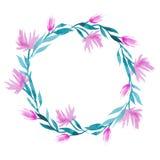 Вручите вычерченный венок цветка акварели вектора в зеленом цвете, бирюзе и розовых цветах Стоковое Фото