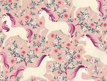 Вручите вычерченный винтажный единорога в картине волшебного леса безшовной Иллюстрация вектора в викторианском стиле Стоковые Изображения