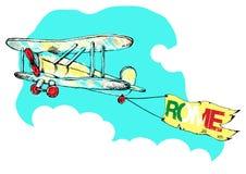 Вручите вычерченный винтажный самолет с знаменем Римом также вектор иллюстрации притяжки corel иллюстрация вектора