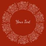 Вручите вычерченный декоративный белый текст или отображайте рамка с цветками и Стоковая Фотография