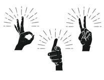 Вручите вычерченный знак для сообщения от пальцев Иллюстрация штока