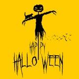 Вручите вычерченный значок хеллоуина с текстурированной иллюстрацией вектора чучела Стоковые Фото
