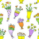Вручите вычерченный изолированный цветочный узор красочного букета на белой предпосылке бесплатная иллюстрация