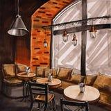 Вручите вычерченный интерьер кафа акварели с таблицами и кирпичной стеной Кофейня с большим окном иллюстрация штока