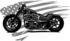 Вручите вычерченный и покрытый краской винтажный американский мотоцикл тяпки иллюстрация штока