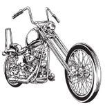 Вручите вычерченный и покрытый краской винтажный американский мотоцикл тяпки бесплатная иллюстрация