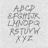 Вручите вычерченный и сделанный эскиз к шрифт, алфавит стиля эскиза вектора Стоковые Изображения