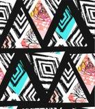 Вручите вычерченный коллаж картины конспекта вектора freehand текстурированный безшовный с mottif зебры, органическими текстурами Стоковые Фотографии RF