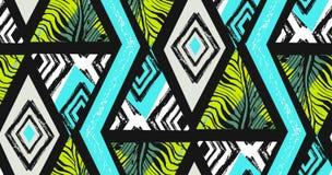 Вручите вычерченный коллаж картины конспекта вектора freehand текстурированный безшовный тропический с мотивом зебры, органически Стоковое Фото