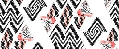 Вручите вычерченный коллаж картины конспекта вектора freehand текстурированный безшовный с мотивом зебры, органическими текстурам Стоковая Фотография RF